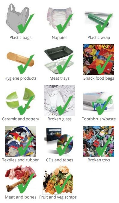 What can go in general waste chart