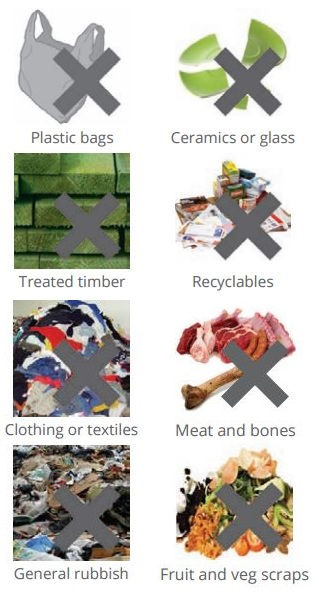 What can't go in Green waste chart