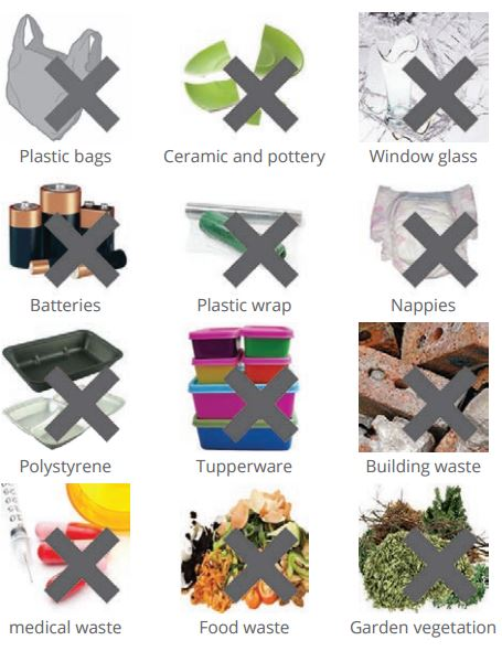 What can't go in recycling chart