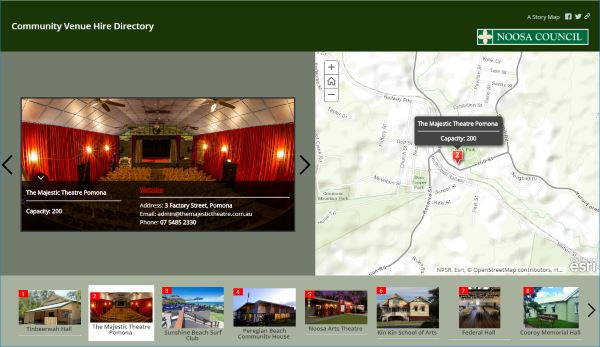 Screenshot of venue hire directory